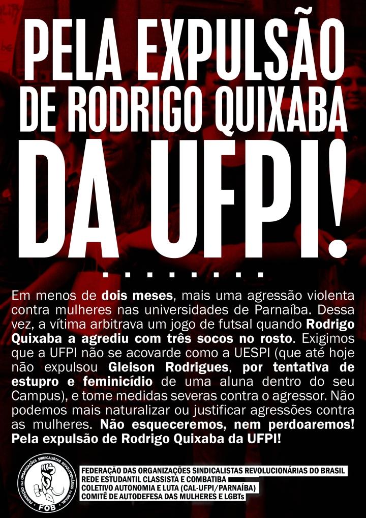 Rodrigo Quixaba agressor UFPI Parnaíba RECC FOB CAL CADM LGBT Expulsão